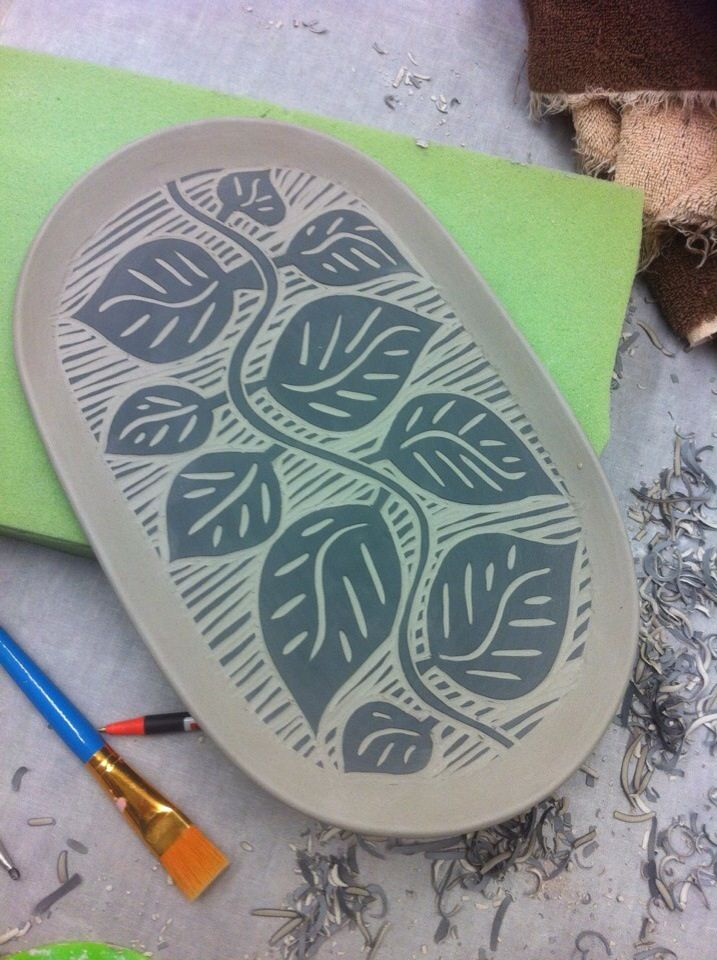leaves - lino block