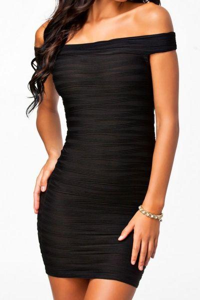 Unique Streaks Off-shoulder Black Bodycon Dress -