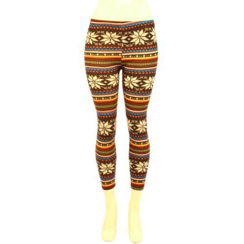 """Winter Snowflake Reindeer Ski Warm Leggings Stretch Footless Multicolor Brown Small SK Hat shop. $17.95. Size: Ladies & Teens, One size, S, Small (Waist: 27"""" elastic will stretch). Style#: leggings_lg9-917. Fabrication: 85% Polyester 15% Spandex. Length: 35""""  Inseam: 25-1/4"""". Color: Brown with Blue, Burnt Orange, Olive, Gold and Beige (as shown, other colors available in our store)). Save 40% Off!"""