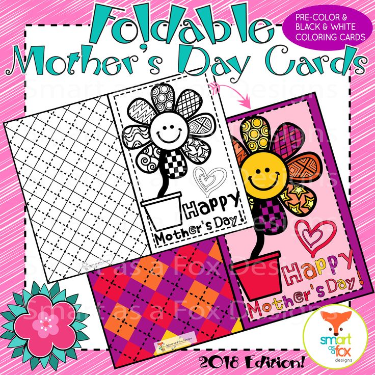 Mother's Day Coloring Craft Card Printable (Mom Stepmom