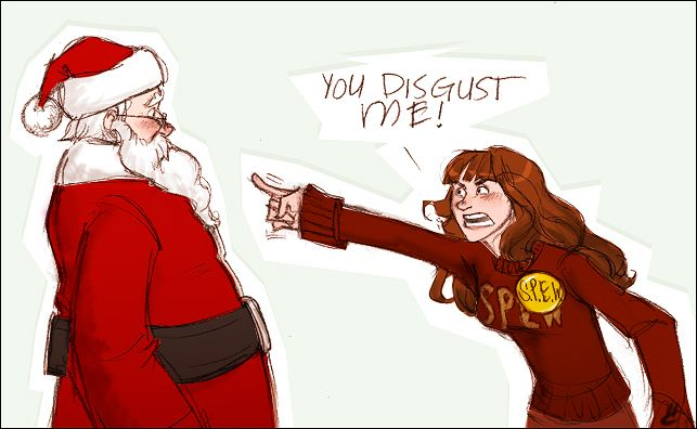 s.p.e.w. does not approve by makani.deviantart.com on @deviantART Hermione is appalled by Santa's choice of workers.