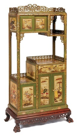 A Green Chinoiserie Lacquer Asymmetrical Open Display Cabinet, French , Circa 1880  141 x 72x 40 cm