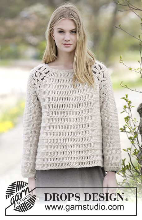 Priscilla - Crochet DROPS jumper with raglan and lace pattern in ...