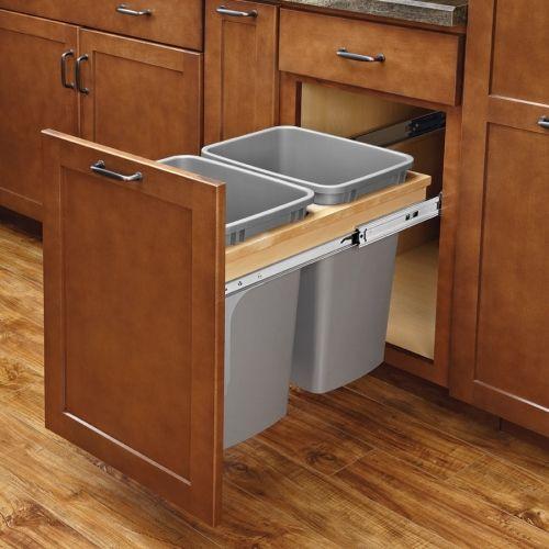 Rev-A-Shelf Double Trash Pullout 35 Quart W/ Soft-Close 4WCTM-18BBSCDM2 | CabinetParts.com
