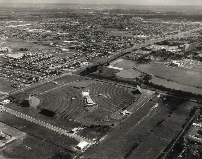 """The Clayton Twin Drive-In, in Melbourne's southeast, now the site of the Australian Synchrotron. The Menzies building (""""Ming Wing"""") of Monash University can be seen in the top right corner."""