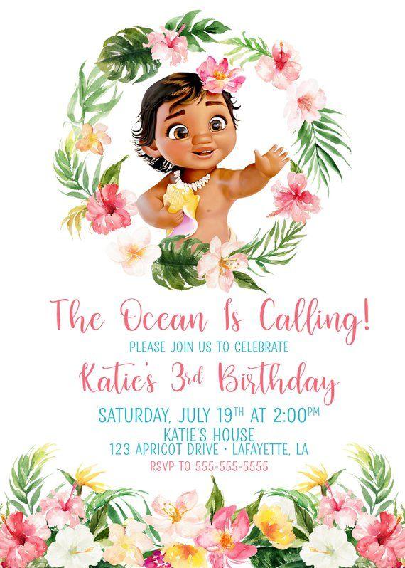 Baby Moana Invitation Birthday Girls