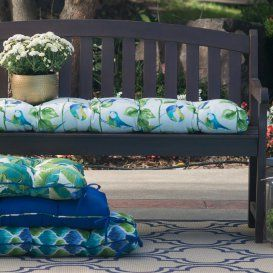 Coral Coast Curious Tropical Bird 51 in. Outdoor Bench Cushion