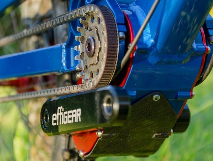 The Effigear's integrated suspension pivots allow it to be used with a belt drive on full-suspension bikes