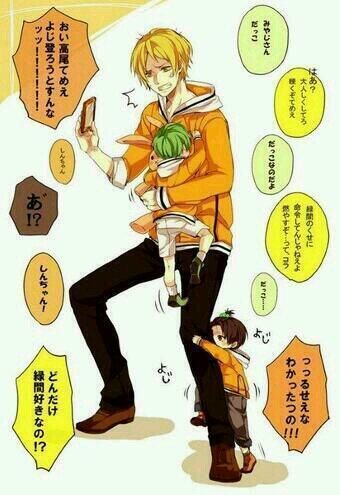 Miyaji-senpai with little Takao and Shin-chan