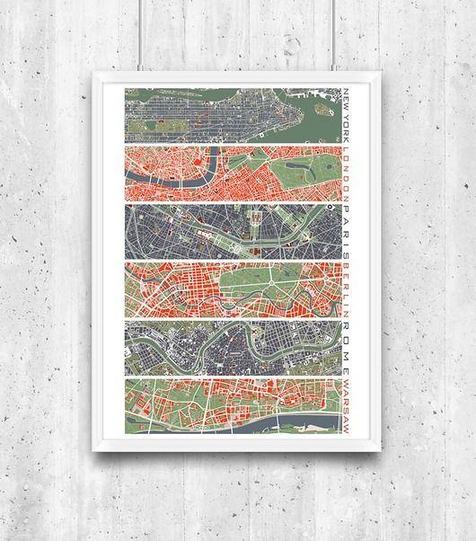 plakaty-Six cities - plany miast, plakat A2