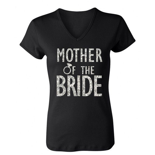 Mother of the Bride Shirt with Silver Glitter Print ❤ liked on Polyvore featuring tops, bridal shirts, silver top, bride shirts, silver shirt and glitter shirt