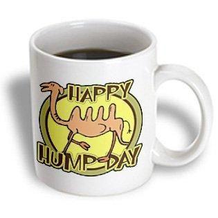 3dRose Funny Happy Hump Day Camel Cartoon Design, Ceramic Mug, 11-ounce