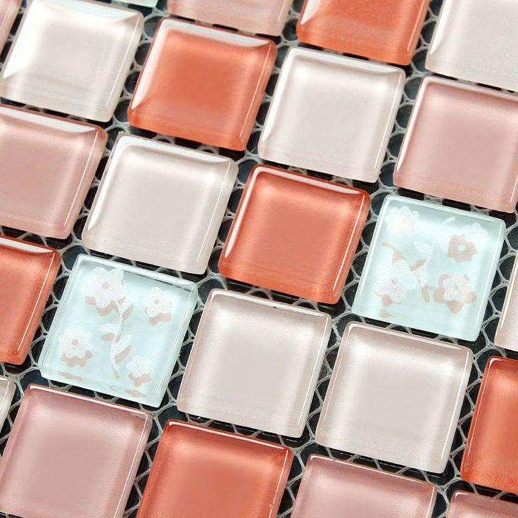 Pink glass mosaic kitchen wall tile backsplash 4005 Crystal mosaic tiles bathroom floor tiles Liner wall stickers Pool tile