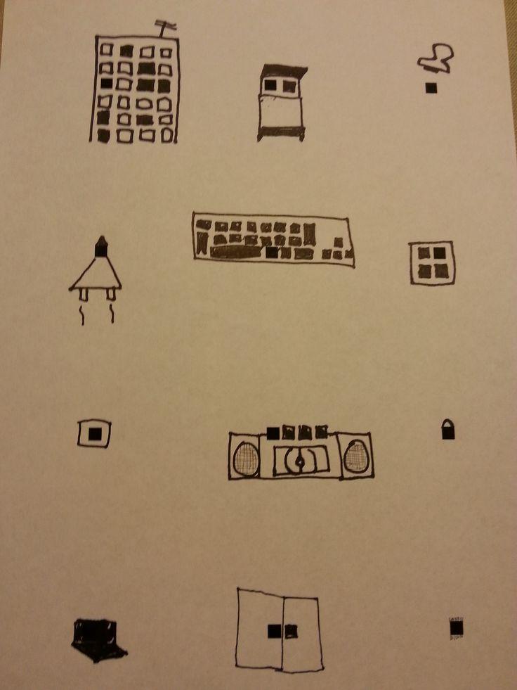 flatgebouw, bed, stempel, raket, toetsenbord, raam, stopknop, radio, handtas, laptop, deuren, tapijt