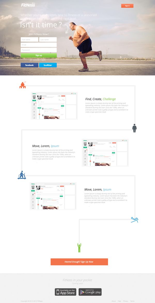 Fitnass Landing Page by Farouk Hosny, via Behance