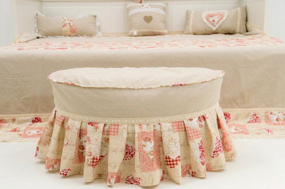 Rustic romantic bean bag pouffe with vintage style by Magicbeanbag