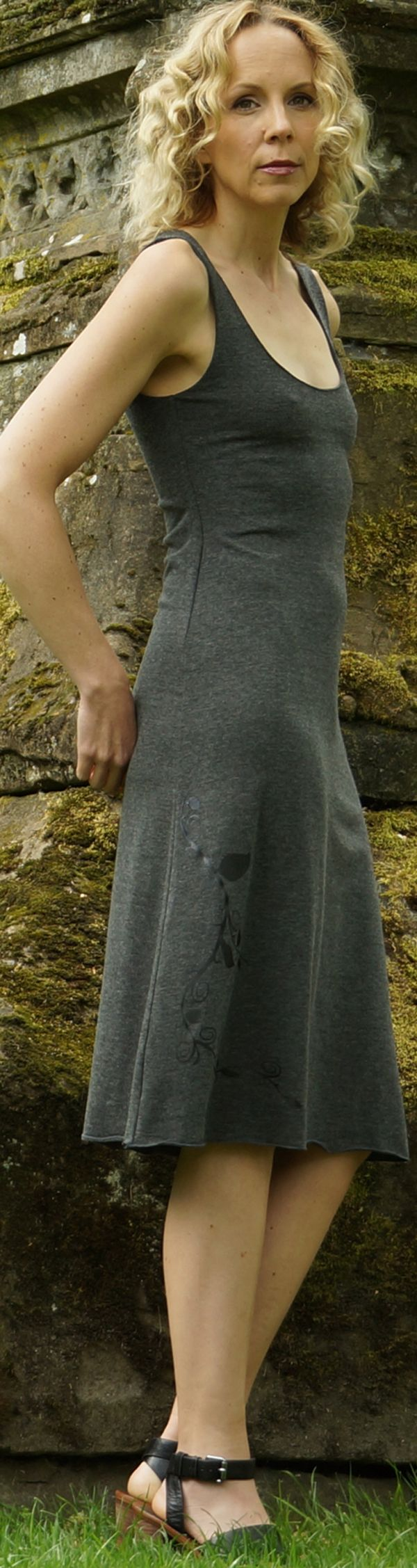 Your Perfect Vacation Dress ! Simple, Chic, Comfortable Bamboo Dress from Squeezed Yoga Clothing $98.  http://squeezed.ca/shop/charcoal-bamboo-a-line-dress-with-black-vine-print