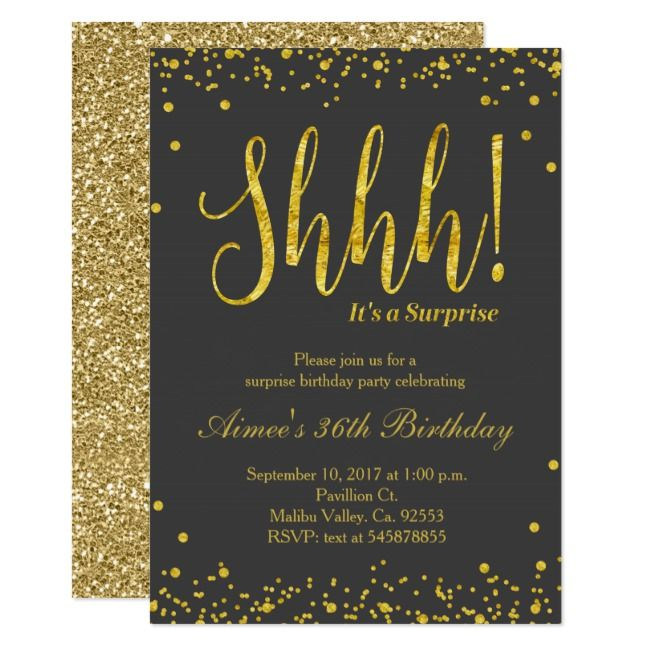 Surprise Birthday Party Invitation Black Gold Invitation Black Gol Surprise Birthday Party Invitations Surprise Party Invitations Surprise Birthday Invitations
