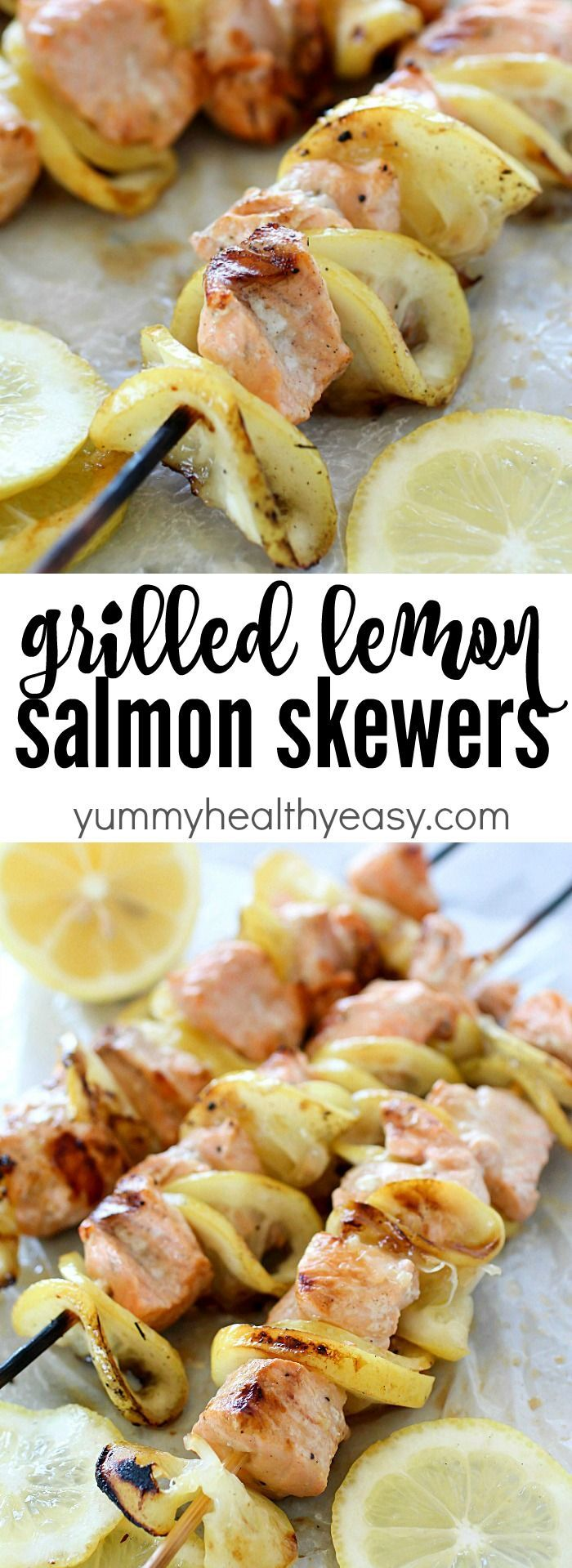 Salmon Skewers tossed in a garlic-lemon sauce and then grilled. So ...