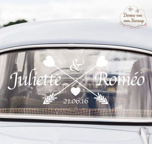 """Stickers de voiture mariage personnalisable """"Flèches"""" - pour une décoration personnalisée : Stickers par dessine-moi-ma-fete"""