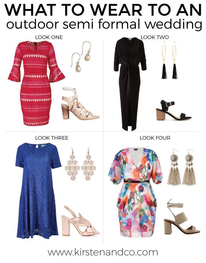 Wondering what to wear to an outdoor semi formal wedding? Here are four outfit ideas for you including shoe and accessory options.