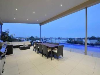 Indoor-outdoor outdoor living design with balcony & ground lighting using tiles - Outdoor Living Photo 450731