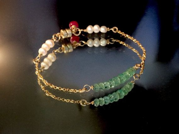 Colombian Emerald  Ruby Gemstone Chain Bracelet  by OohLaLaRouge