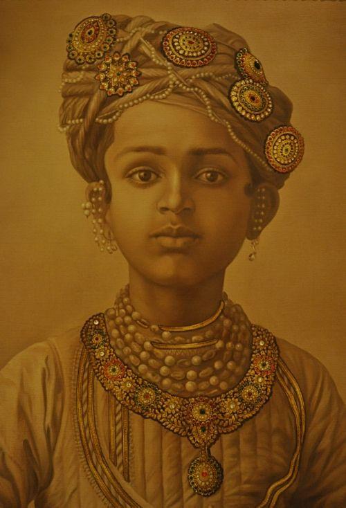 Painting by Bhim Singh Hada depicting the Maharaja of Mysore, Chamarajendra Wadiyar