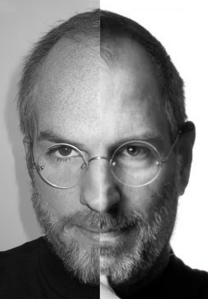 A comparison of Ashton Kutcher portraying his role as Steve Jobs ...