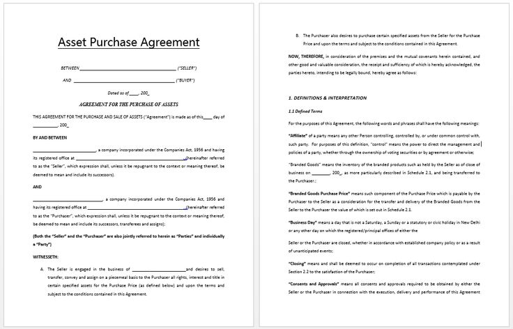 Asset Purchase Agreement Sample Templates Pinterest Price Quote   Purchase  Agreement Samples