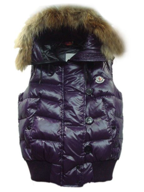 Moncler outlet Neueste! Moncler Damen Down Weste Rabbit Hut Buttons Mit Reißverschluss Lila Mode