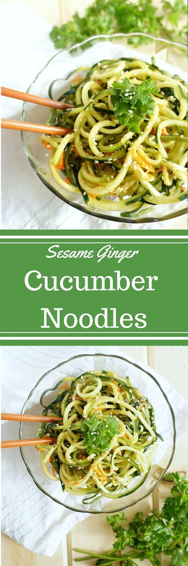 Raw Sesame Ginger Cucumber Noodles- GF and DF naturally! | savoringsimple.com
