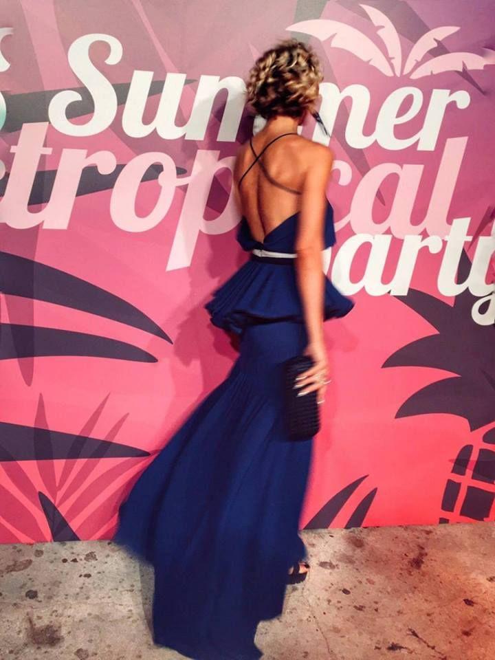 Elena Galifas in Dress in frills by Stelios Koudounaris. Cool UR Style | ΑΝΤ1 Find the look at Xamam - www.xamamclothes.com // #xamamphilosophytowear #chania #blogger #fashion #stelioskoudounaris #maxidress #frills
