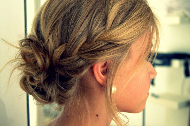 loose side braid into messy bun