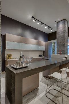 Contemporary Marble-like Tiles Kitchen Design Ideas, Pictures, Remodel and Decor