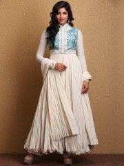 Shop Ivory & Power Pink Anarkali Cotton Suit Set By Rohit Bal online at Biba.in - RB4723IVRYPWRPNK