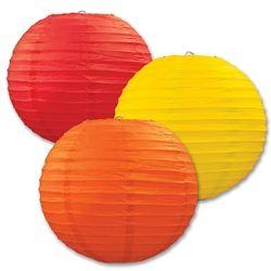 Golden-Yellow, Orange, and Red Paper Lanterns (3/Pkg)