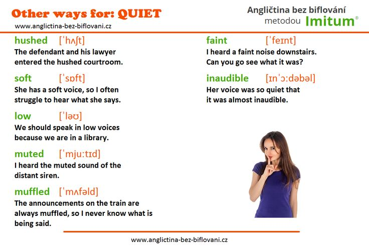 Jaká jsou další možná slova pro vyjádření tichého zvuku?