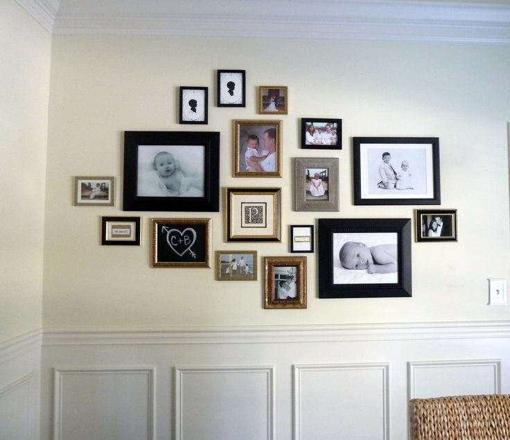 9 best gallery wall images on pinterest for the home for Arrangement of photo frames on wall