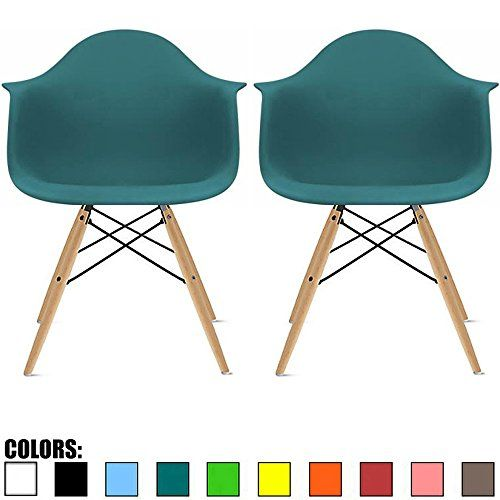 2xhome Set Of Two 2 Teal Eames Style Armchair Natural Wood
