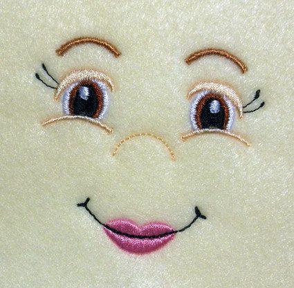 Visage de poupée fille avec lèvres pleines Design de broderie Machine