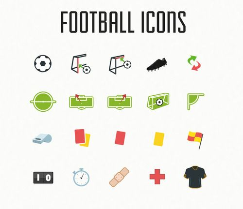 The Football Icon Pack contains 20 Flat football / soccer themed icons. It includes the following icons: Ball, Shot on post, Shot on bar, Assist, Substitution, Kick-off, Penalty missed, Goal, Corner, Whistle, Red card, Red card(2x yellow), Yellow card, Referee flag, Scoreboard, Stopwatch, Injury, Shirt. All icons are made in vector and are fully scale-able