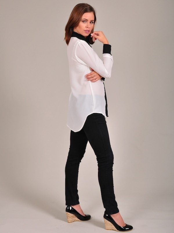 Diligo cream and black colour block shirt | www.diligo.co.za