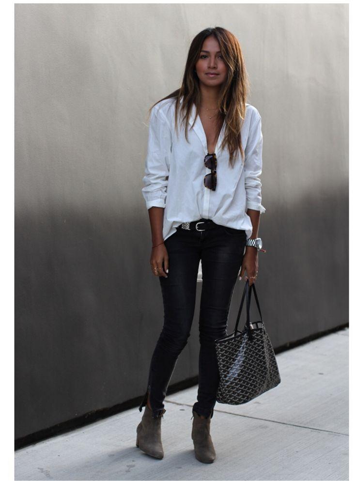 White button up shirt: Silence & Noise; Jeans : Anine Bing; Belt: Isabel Marant x H&M; Booties: Isabel Marant; Sunglasses: Karen Walker; Watch: Michael Kors | sincerely jules @ sincerelyjules.com