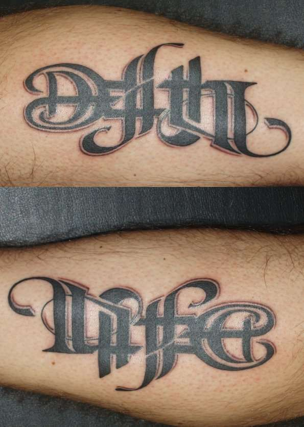 Life Death Ambigram : death, ambigram, Following, Words, Texts,, Drawn, Artistically, Different, Fonts:, Either, Gothic,, Arial,, Courier,, Etc.,, Th…, Death, Tattoo,, Ambigram, Tattoo