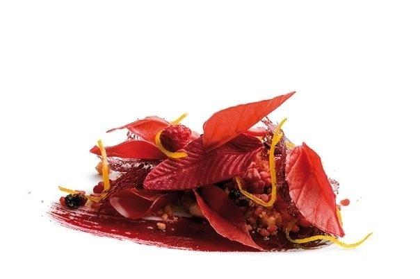 Otoño Nipon | Representando el otoño nipón, hojas caídas de croquant de  frambuesas y remolacha, helado de chocolate amargo y tomillo limón,  pañuelos de caramelo de grosella negra, puré de piel de naranja,  gelatina de remolacha y trigo inflado con praliné de almendras. #AlbertAdria
