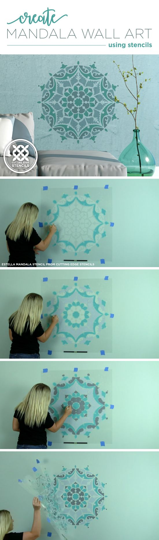 25 unique mandala stencils ideas on pinterest cutting edge cutting edge stencils shares how to paint wall art using the estella mandala stencil http amipublicfo Images