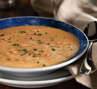 Lobster bisque. One of my fav. dishes is lobster bisque drizzled over grilled salmon on a bed of rice. Delicious.