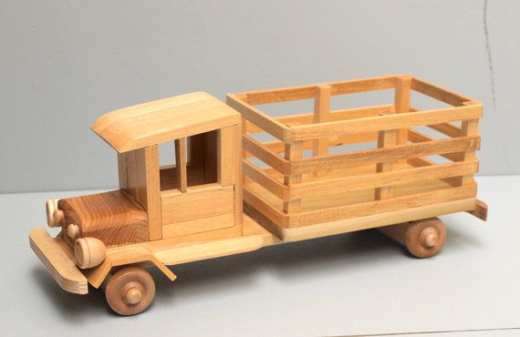 Reclaimed Wood FARM Truck Eco-friendly Wooden Toy Car for Kids Organic Natural Unpainted Finish