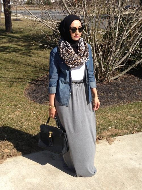 Denim shirt and maxi skirt combination
